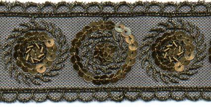 Gold Embroidery Lace w/Bead